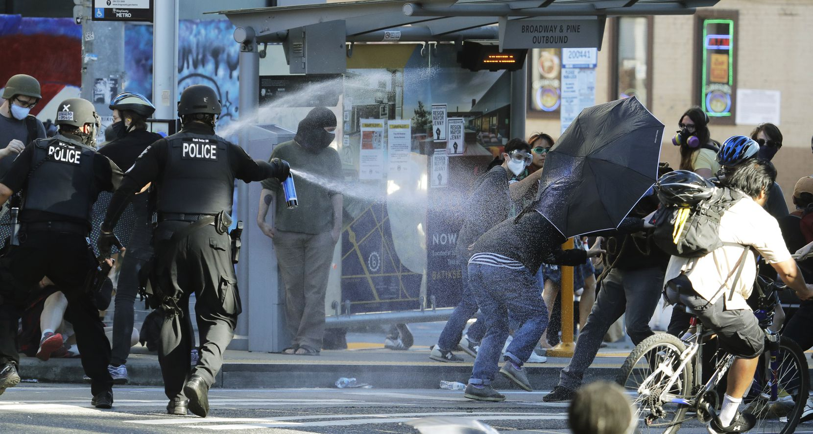 Police in Seattle pepper spray protesters July 25, 2020, near Seattle Central College during a march and protest in support of Black Lives Matter. The Office of Police Accountability said Oct. 23 that excessive force was used.