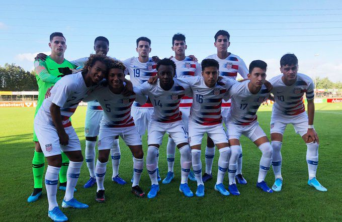 The starting XI for the US U17s against Mexico on September 5th, 2019.  FCD Academy center back Nico Cerrera is far right on the back row. To his left is FC Dallas Homegrown striker Ricardo Pepi.
