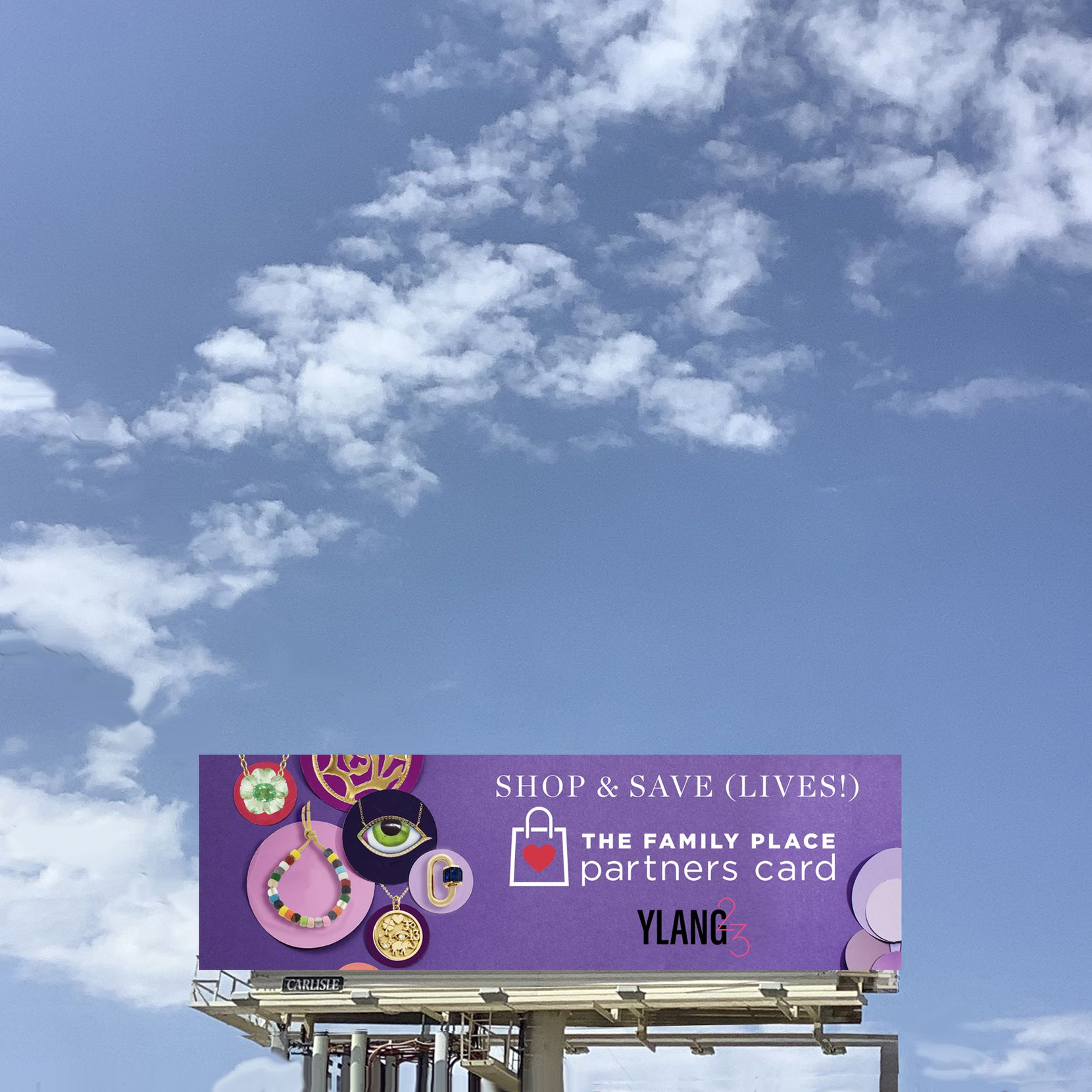 There weren't as many commuters during this year's drive, but the familiar billboard prominently placed by Dallas jewelry retailer Ylang 23 was still up to promote The Family Place Partners Card.