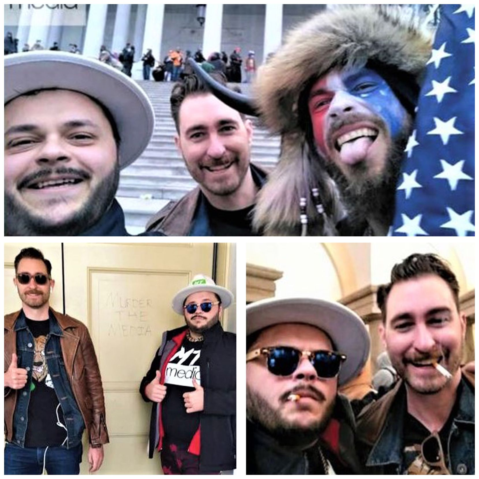 "Top picture: Nicholas DeCarlo (left) and Nicholas Ochs (rear) are seen with Jacob Chansley (right), who was arrested Jan. 9 on charges related to his part in the U.S. Capitol building invasion. Bottom left picture: Nicholas Ochs (left) and Nicholas DeCarlo are shown Jan. 6 in front of a door inside the U.S. Capitol on which the words ""Murder the media"" have been etched.  DeCarlo is seen wearing a ""Murder the media"" shirt. Bottom right picture: According to federal court documents, Nicholas Ochs (right) on the afternoon of Jan. 6 posted this photograph showing him and Nicholas DeCarlo both smoking inside the Capitol."