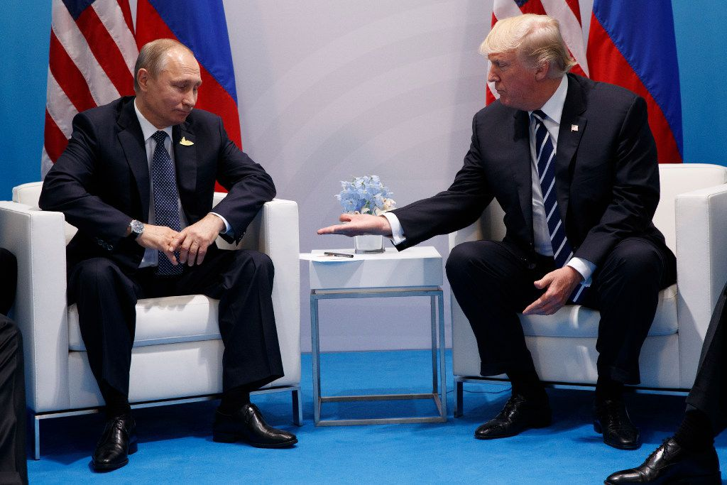 President Donald Trump meets with Russian President Vladimir Putin at the G20 Summit on Friday in Hamburg, Germany.