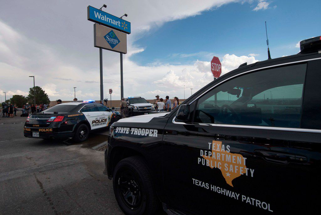 Police and state troopers kept watch outside the Cielo Vista Mall Walmart in El Paso on Aug. 4, 2019.