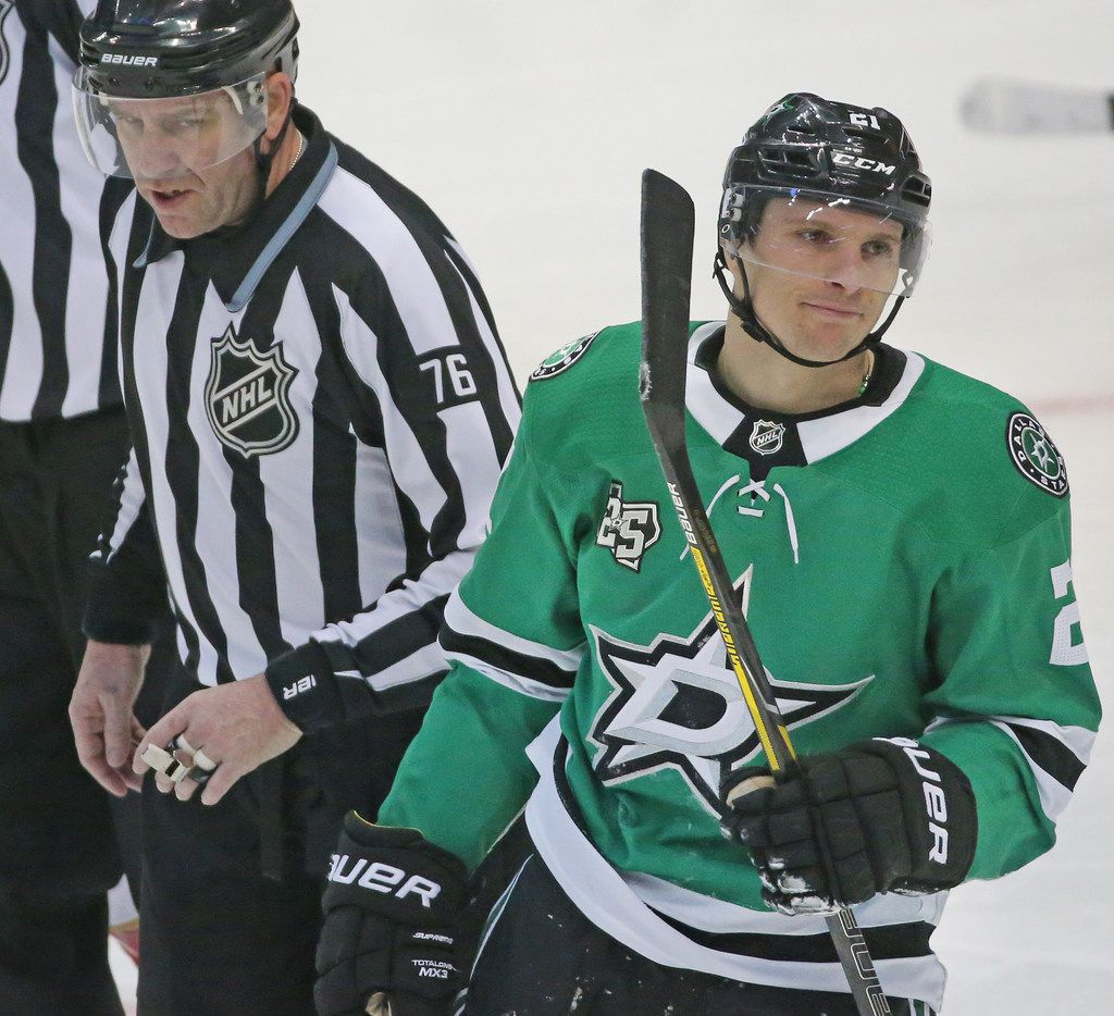 Dallas Stars left wing Antoine Roussel (21) is pictured during a game against the Florida Panthers at American Airlines Center in Dallas on Tuesday, January 23, 2018. (Louis DeLuca/The Dallas Morning News)