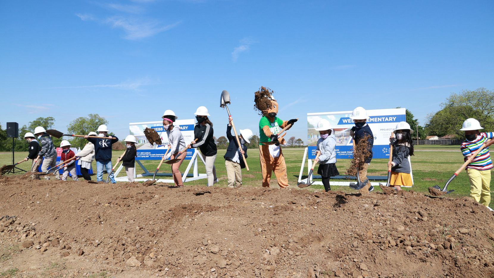 Students at Webb Elementary participated in a ceremonial groundbreaking for their new school.