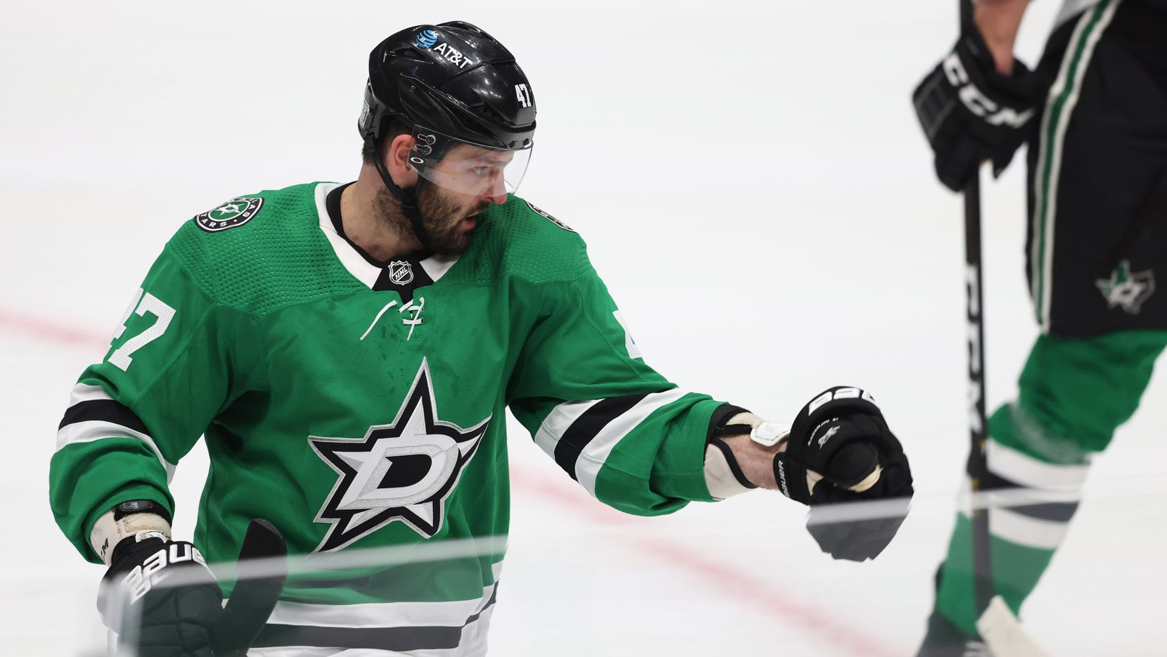 Dallas Stars right wing Alexander Radulov (47) celebrates after scoring his second goal of the game against the Nashville Predators during the second period of play in the Stars home opener at American Airlines Center on Friday, January 22, 2021 in Dallas.