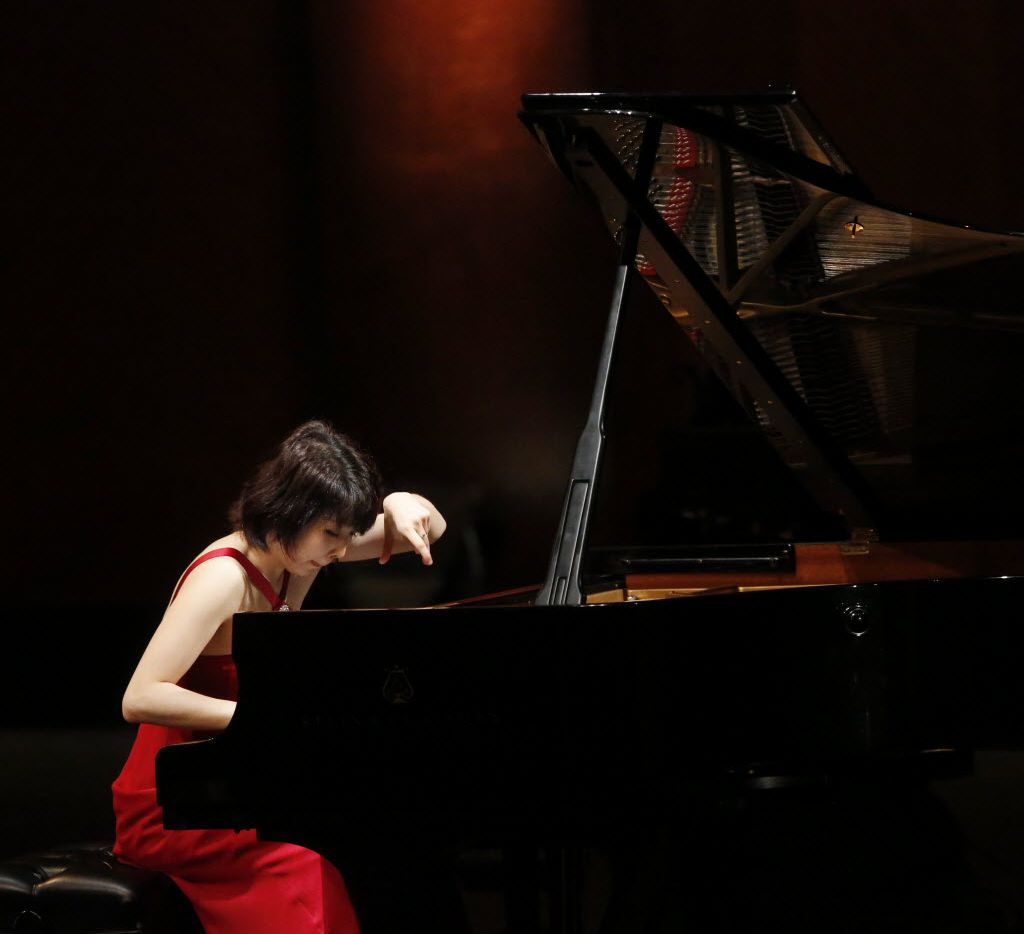 Claire Huangci performs during the preliminary round of the fourteenth Van Cliburn International Piano Competition at Bass Performance Hall in Fort Worth.