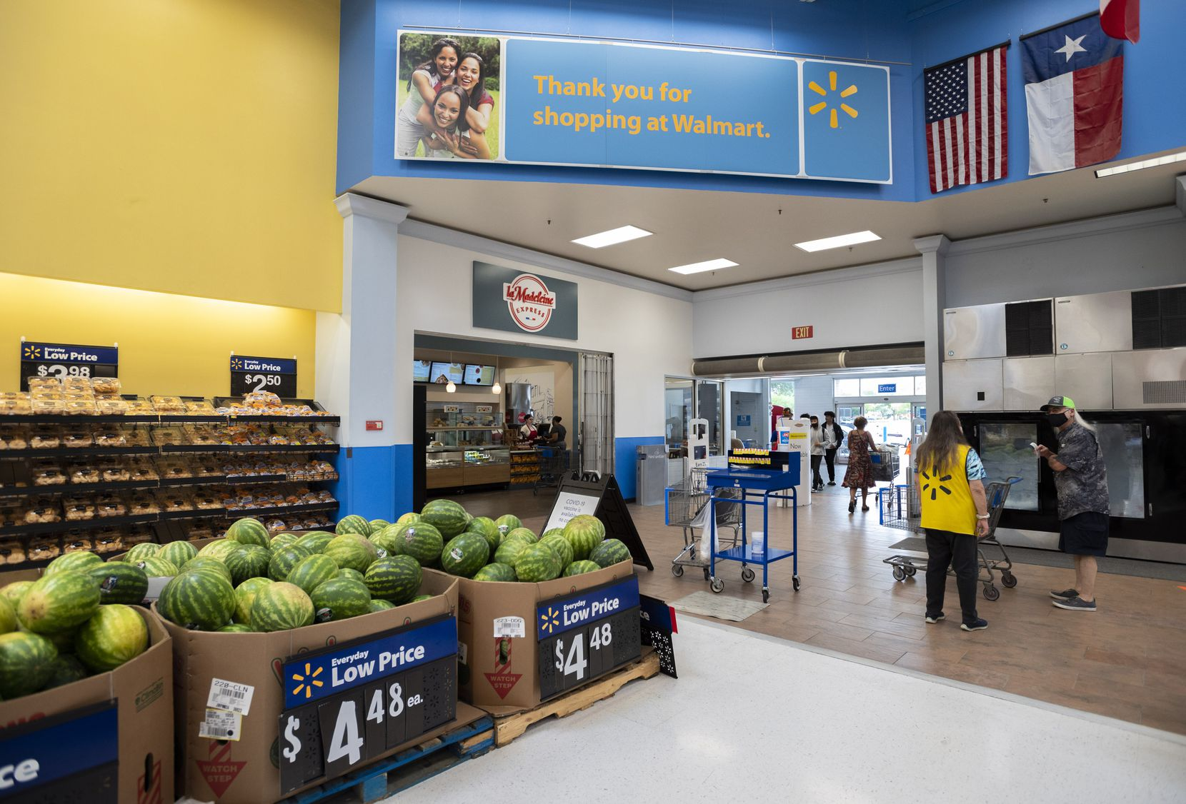 La Madeleine Express is just inside the grocery entrance of the Walmart Supercenter in Garland.