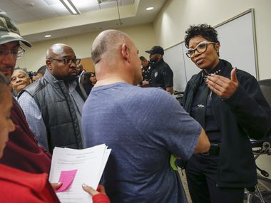 Dallas Police Chief U. Renee Hall, right, speaks with community members during a listening session hosted by the Dallas Police Department at Eastfield College Pleasant Grove Campus on Tuesday, Jan. 28, 2020 in Dallas. (Ryan Michalesko/The Dallas Morning News)