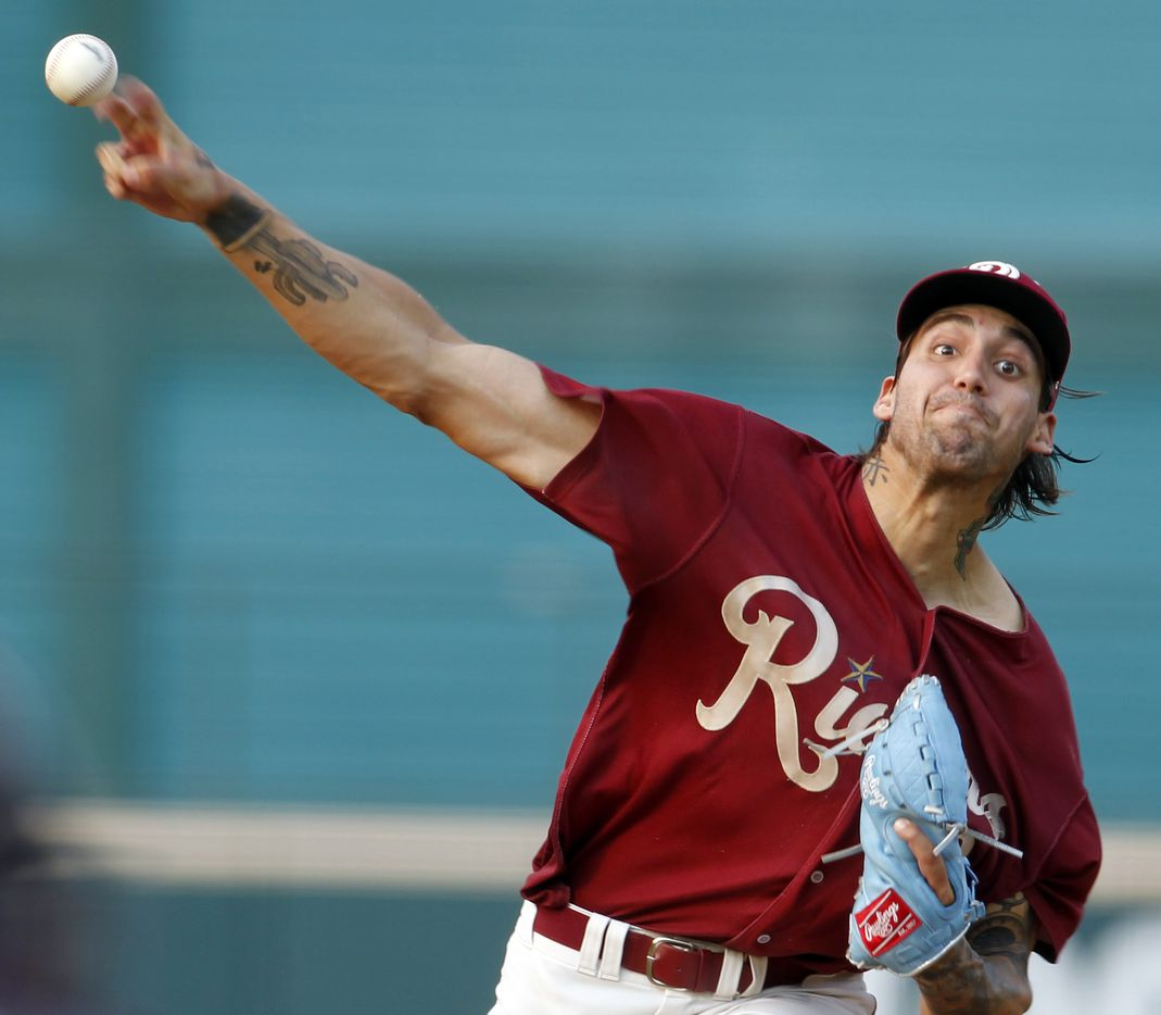 Frisco RoughRiders pitcher Hans Crouse (13) delivers a pitch to a San Antonio batter during the top of the first inning of play. The two teams played their minor league baseball game at Riders Field in Frisco on June 22, 2021 (Steve Hamm/ Special Contributor)