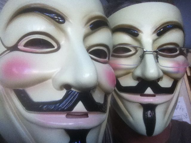 """Supporters of """"Anonymous"""" -- the hacker/activists called hacktivists -- sometimes wear these masks in communications with the public. The group is said to be behind a hack of the Texas GOP website."""