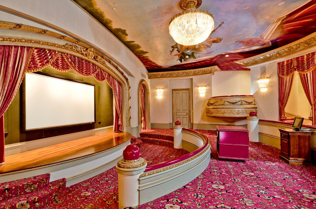 The home theater and stage in the Champ d'Or estate, a baroque French chateau located in Hickory Creek.