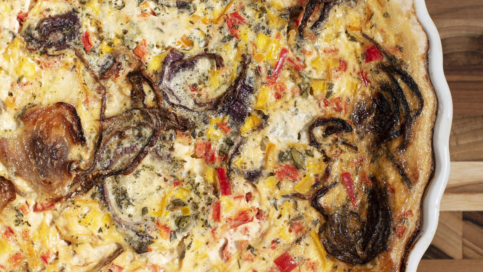 Gorgonzola With Roasted Red Onions and Colored Pepper Quiche