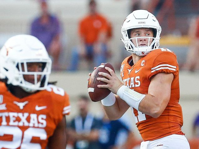 Texas Longhorns quarterback Sam Ehlinger (11) looks for a receiver during the first quarter of a college football game between the University of Texas and Louisiana State University on Saturday, Sept. 7, 2019 at Darrell Royal Memorial Stadium in Austin, Texas. (Ryan Michalesko/The Dallas Morning News)
