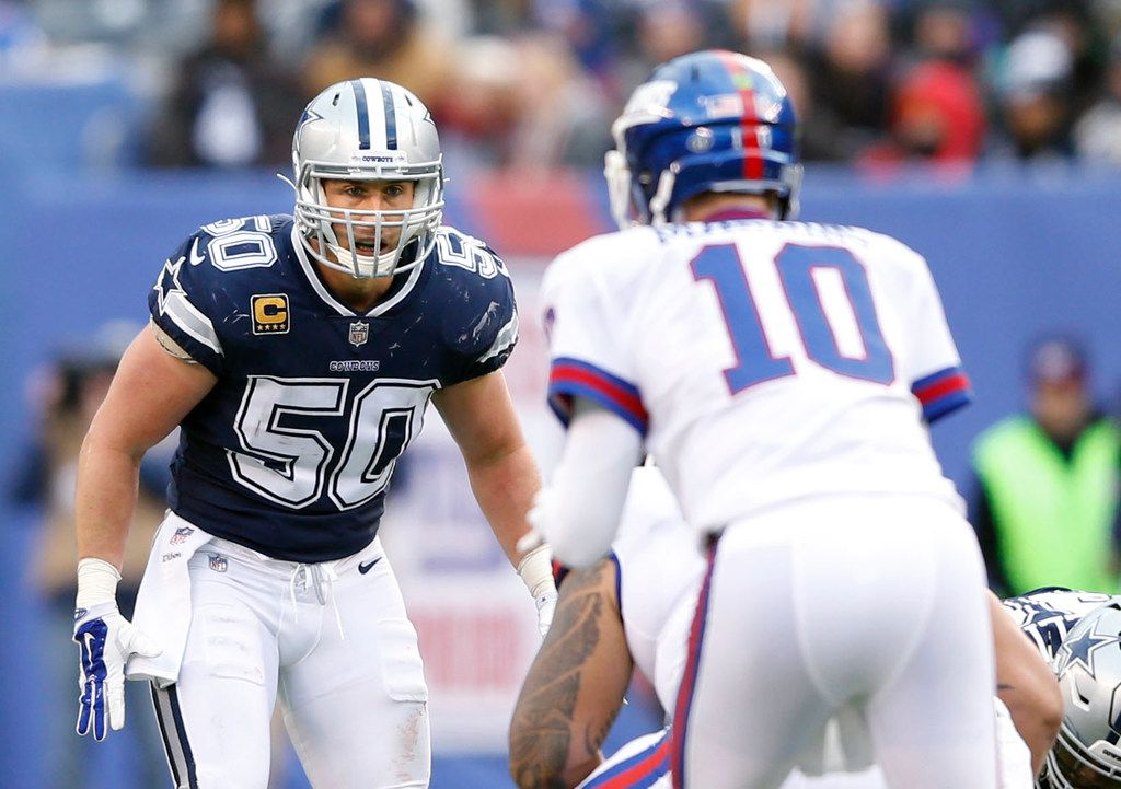 Dallas Cowboys middle linebacker Sean Lee (50) watches New York Giants quarterback Eli Manning (10) before the snap during the first half of play at MetLife Stadium in East Rutherford, New Jersey, on Sunday, December 10, 2017. (Vernon Bryant/The Dallas Morning News)