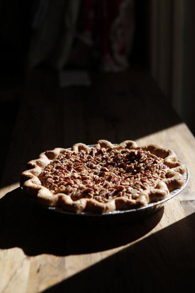 Emporium Pies' The Drunken Nut, a bourbon-pecan pie with shortbread crust, at Emporium Pies in Dallas. (Sarah Hoffman/Staff Photographer)