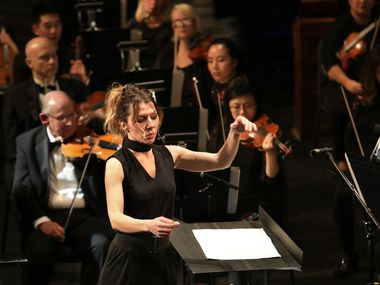 Audrey Saint-Gil conducts during the Dallas Opera's Hart Institute for Women Conductors Showcase Concert at the Winspear Opera House.