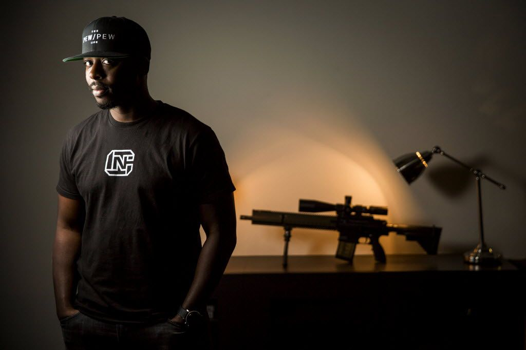 Colion Noir photographed with his (AR-15-style) Heckler & Koch MR 762 A1 rifle on Wednesday, June 29, 2016, in Dallas. (Smiley N. Pool/The Dallas Morning News)