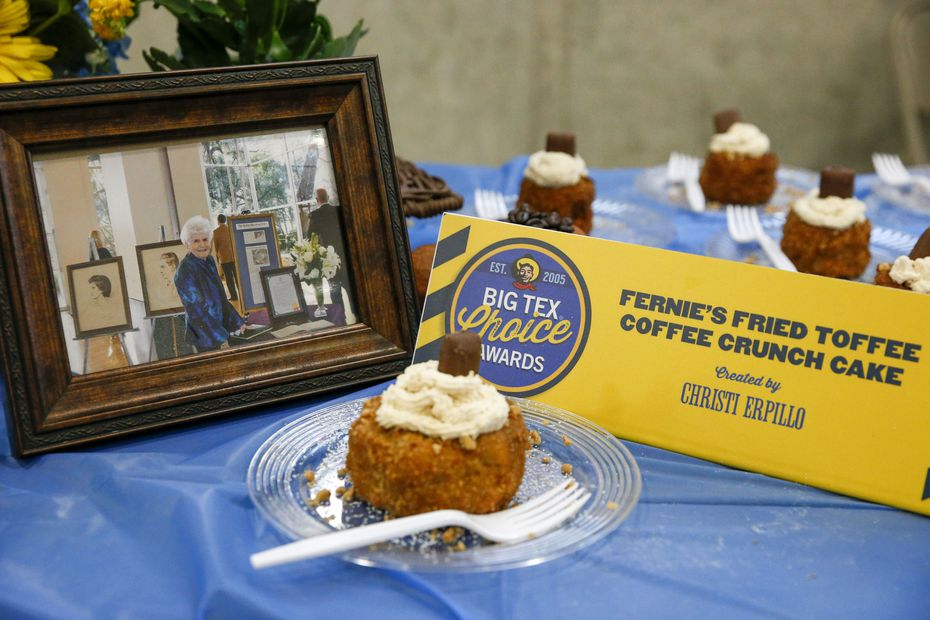 """A picture of Wanda """"Fernie"""" Winter rests near her family's Big Tex Choice Awards finalist entry for Fernie's Fried Coffee Toffee Crunch Cake. Winter died in June 2021 after spending more than five decades at the State Fair of Texas."""