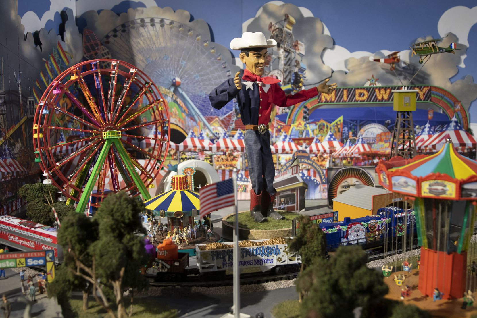 """A miniature State Fair of Texas scene is part of this year's """"The Trains at NorthPark"""" exhibit."""