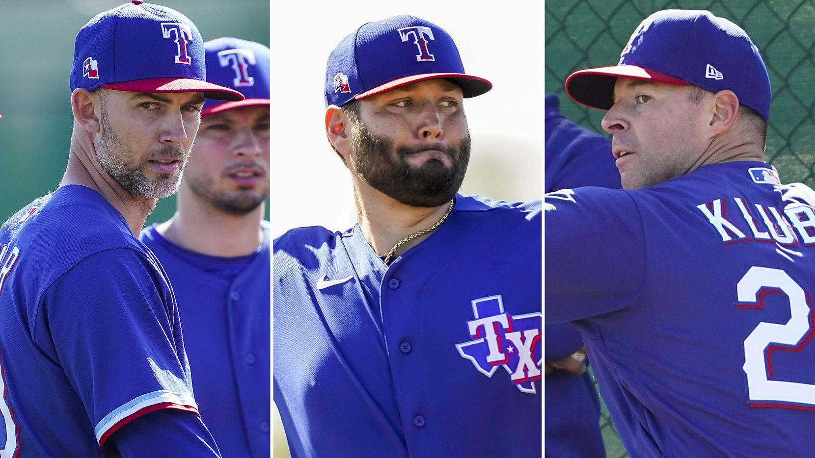 Texas Rangers pitchers Mike Minor, Lance Lynn, and Corey Kluber (L to R) at spring training.