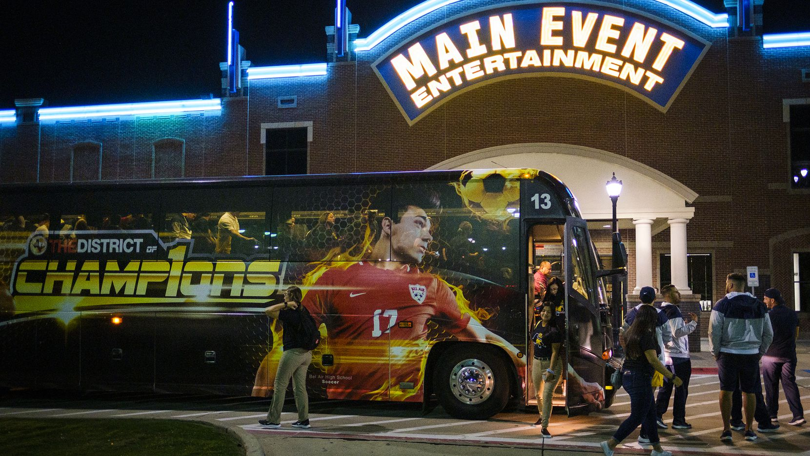 El Paso Eastwood football team buses arrive at the Main Event entertainment center for a post-game party after they played Plano High School at the The Star on Thursday, Sept. 5, 2019, in Frisco, Texas.