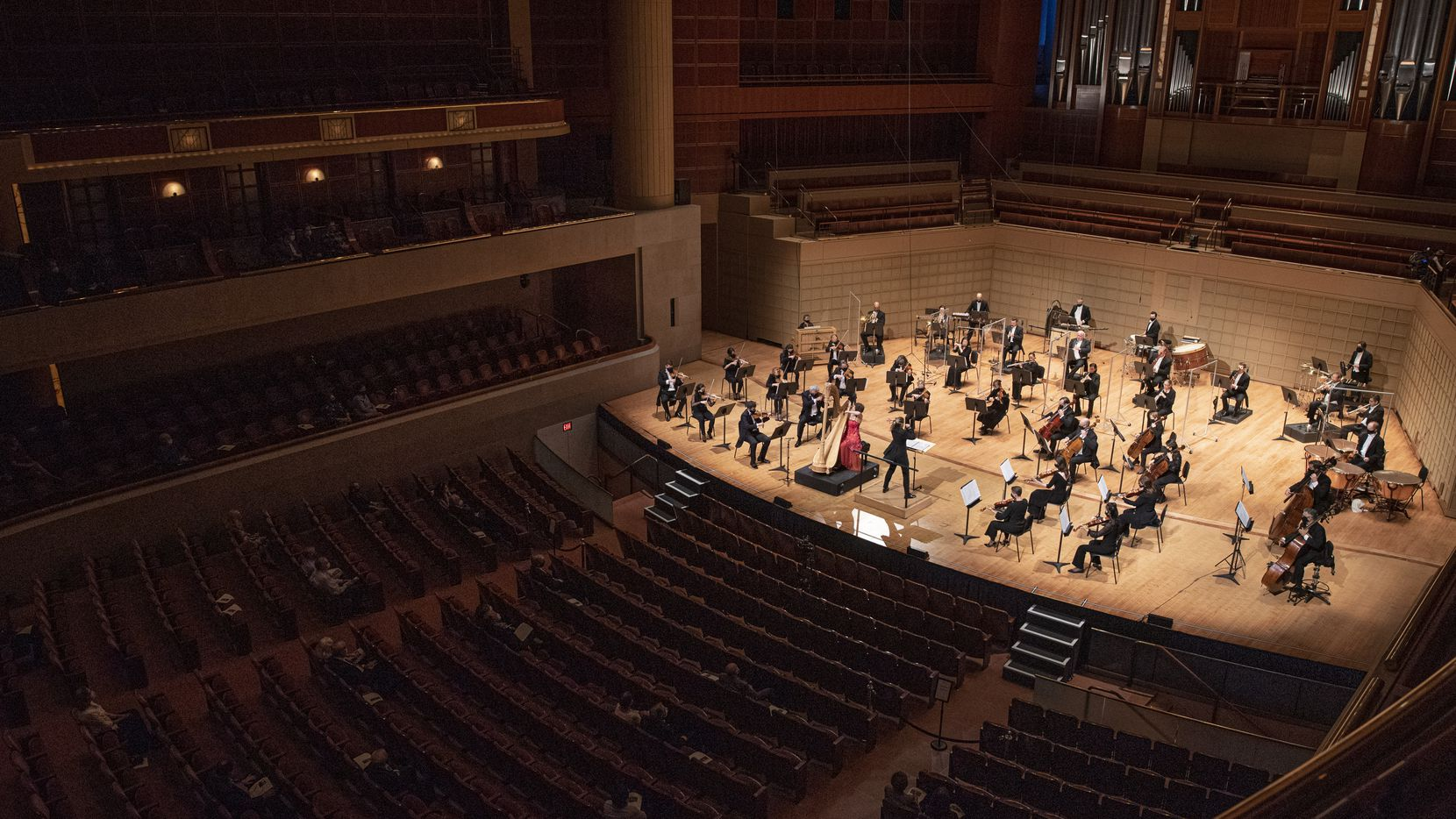A crowd of under 100 DSO subscribers, listen to harpist Emily Levin and Conductor Gemma New as they perform Harp Concerto by Ginastera with the Dallas Symphony Orchestra at the Morton H. Meyerson Symphony Center in downtown Dallas this September. If the students of four award-winning Allen ISD orchestras keep it up, they may get a spot on this stage some day. Ben Torres/Special Contributor