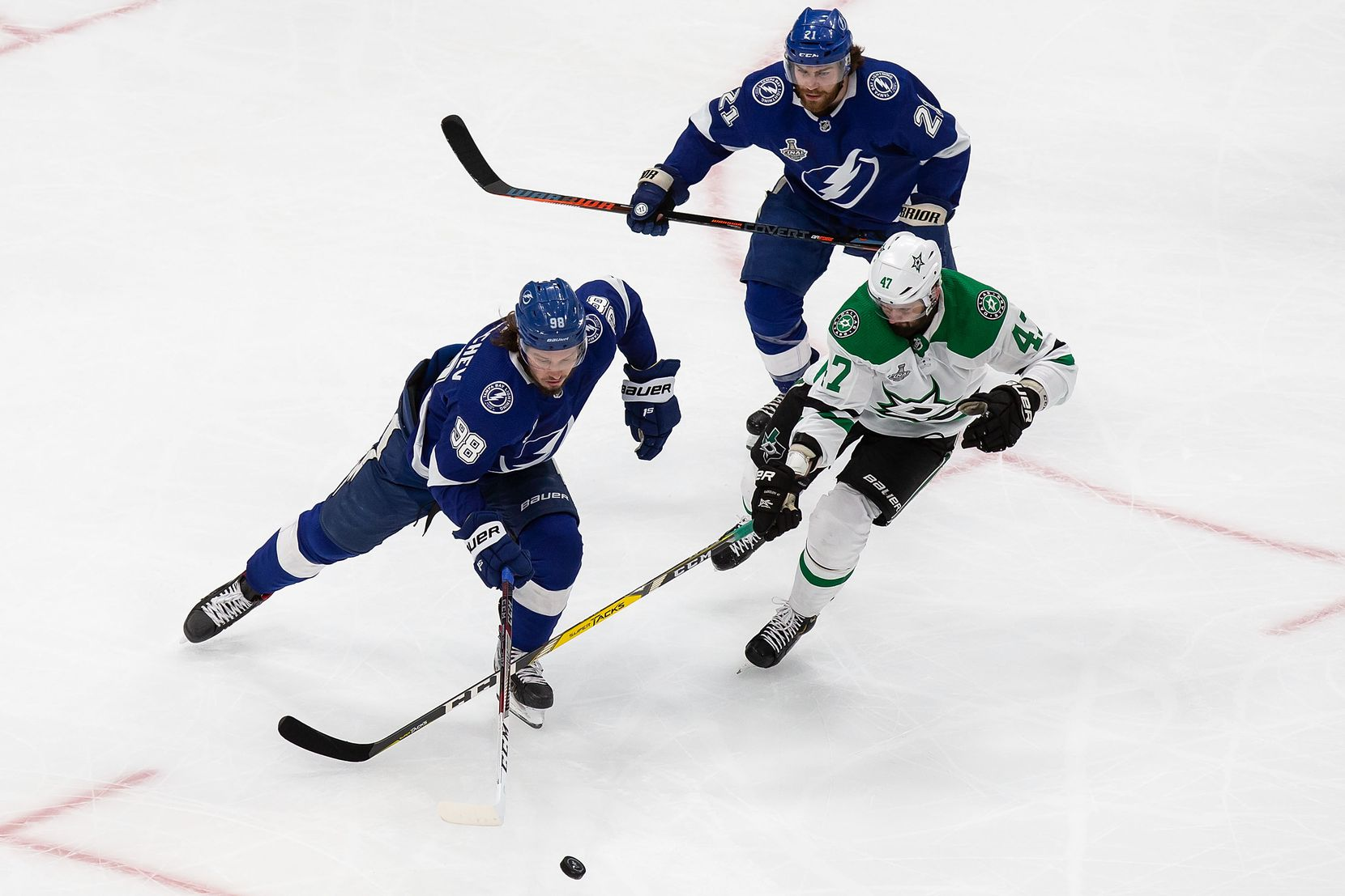 Alexander Radulov (47) of the Dallas Stars battles against Mikhail Sergachev (98) of the Tampa Bay Lightning during Game Two of the Stanley Cup Final at Rogers Place in Edmonton, Alberta, Canada on Monday, September 21, 2020. (Codie McLachlan/Special Contributor)