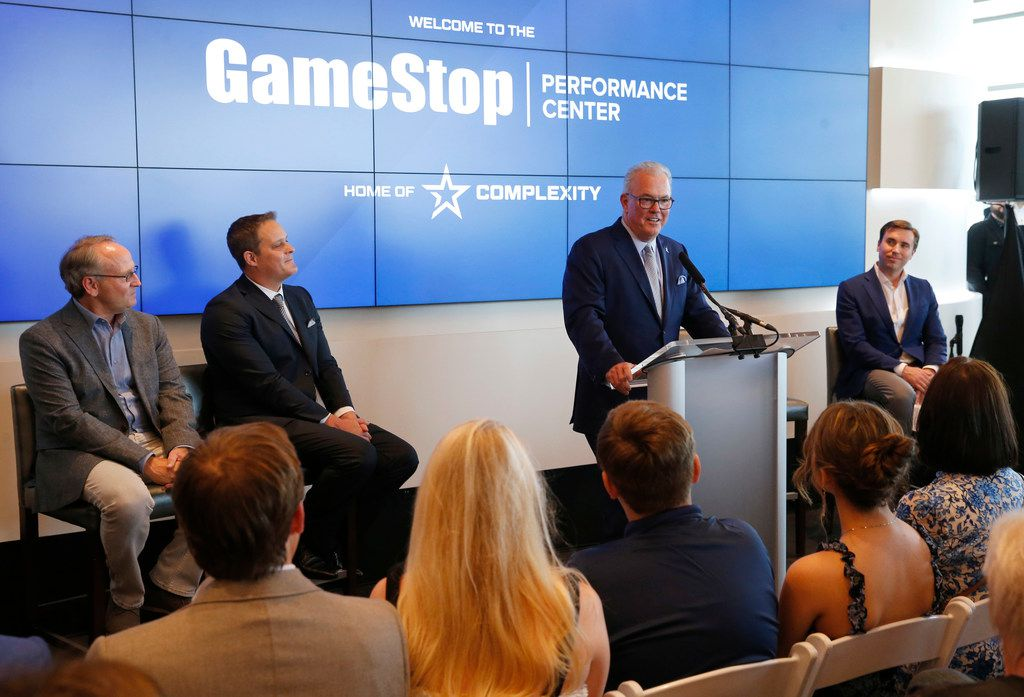 Stephen Jones executive vice president of the Dallas Cowboys speaks during the grand opening of Complexity Gaming's GameStop Performance Center at The Star in Frisco, on Monday, May 20, 2019.