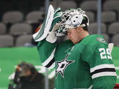 Dallas Stars goaltender Jake Oettinger (29) gets ready for the start of the second period of play against the Chicago Blackhawks at American Airlines Center on Tuesday, February 9, 2021 in Dallas.