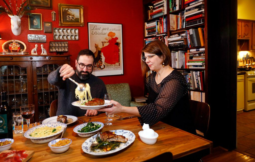 Husband and wife owners of Lucia restaurant, David and Jennifer Uygur, prepared a Valentine's dinner at their North Oak Cliff home in Dallas.
