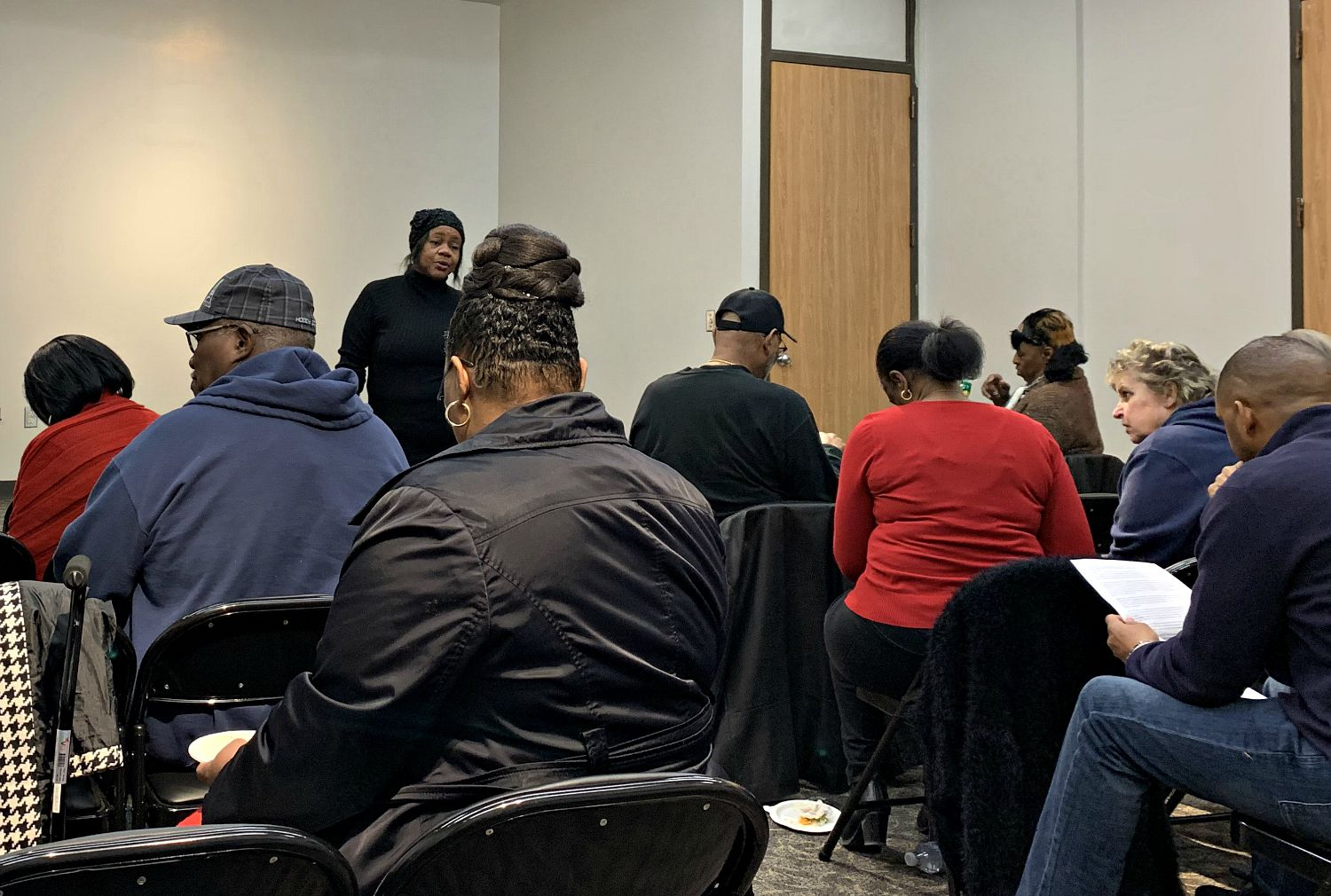 Five Mile Neighborhood Association President Felicia Sewell at Saturday's community meeting in council member Tennell Atkins' office. Residents presented city officials and staff with a list of infrastructure needs long ago demanded and ignored by City Hall.