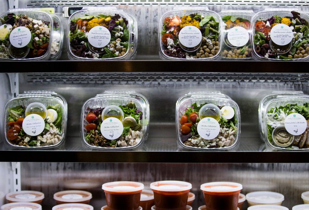 Grab & Go items at Uptown Urban Market on Saturday, April 15, 2017 on Cedar Springs Road in Dallas. The new food hall includes Fireside Pies, La Duni Baking & Coffee Studio, The Hot Counter, Bar Up, Buda Juice, The Cupboard Grab & Go, Ill Minster bar and Bicycle Hub Company.