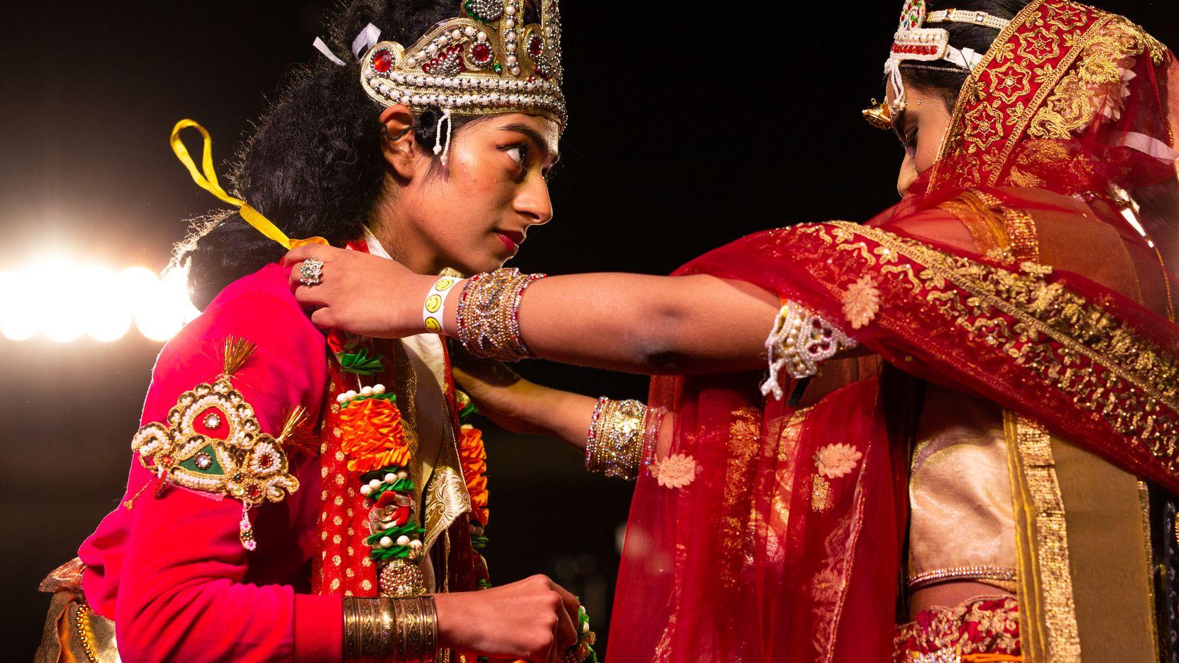 Sixteen-year-old Sanjana Shangle performs Saturday in the Ramlila, a musical drama and dance production that depicts Hindu mythology during Diwali Mela at Fair Park in Dallas.