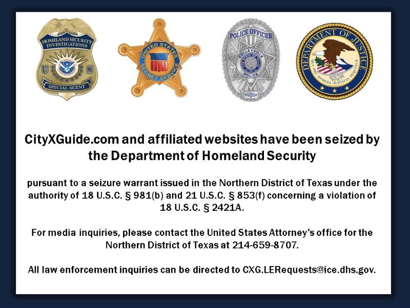 """Last week the U.S. Attorney's Office shut down CityXGuide.com, a website a federal indictment described as """"leading source of online advertisements for prostitution and sex trafficking."""" When the site is now accessed, this is the splash page that is displayed."""