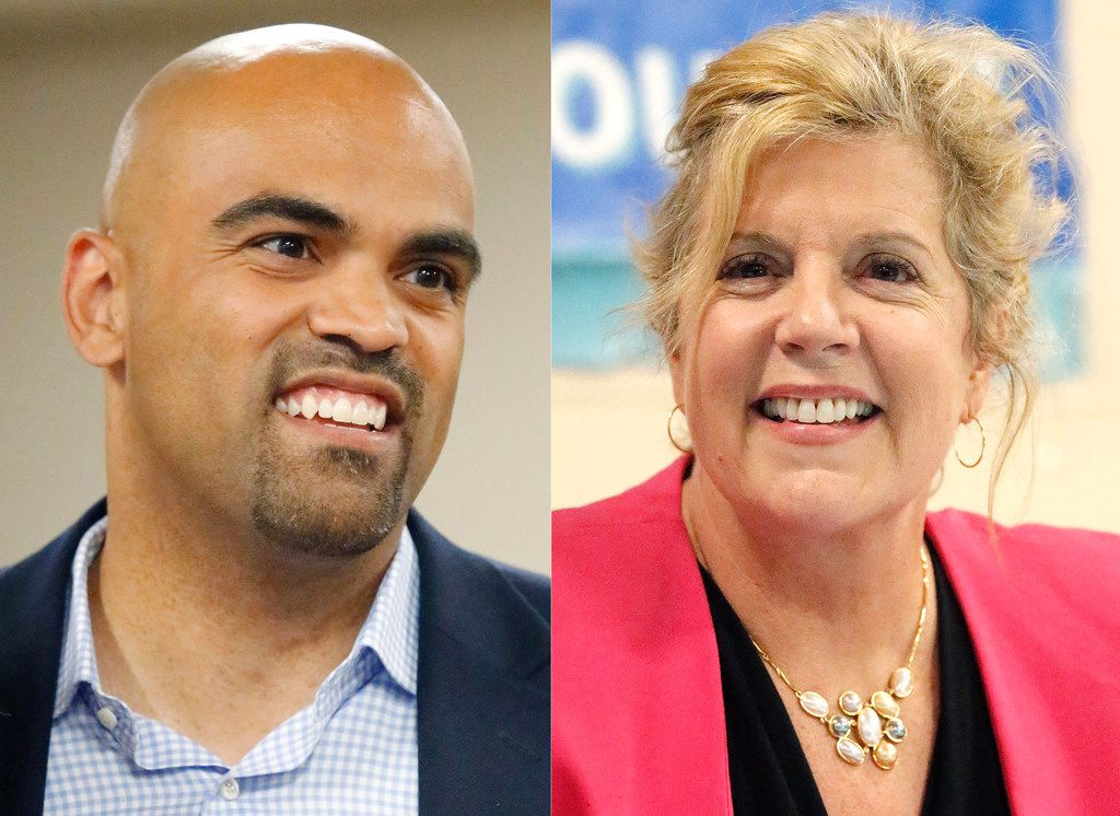 Colin Allred (left) and Lillian Salerno are shown on Monday, April 23, 2018. They are facing off in a Democratic primary runoff for the chance to face Republican Rep. Pete Sessions in the race for Texas' 32nd Congressional District.