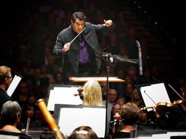 Miguel Harth-Bedoya directs the Fort Worth Symphony Orchestra on opening night of the season at Bass Performance Hall in Fort Worth on September 13, 2019.