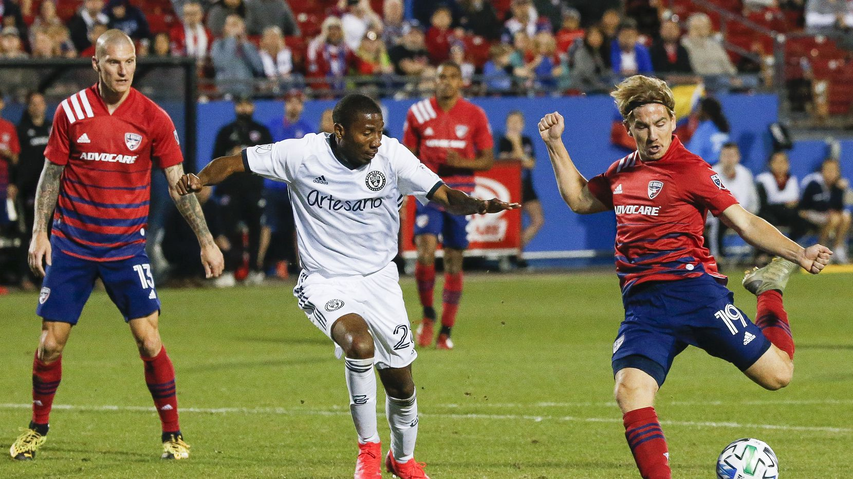 FC Dallas midfielder Paxton Pomykal (19) scores during the second half of an MLS soccer match between FC Dallas and Philadelphia Union on Saturday, Feb. 29, 2020 at Toyota Stadium in Frisco, Texas.