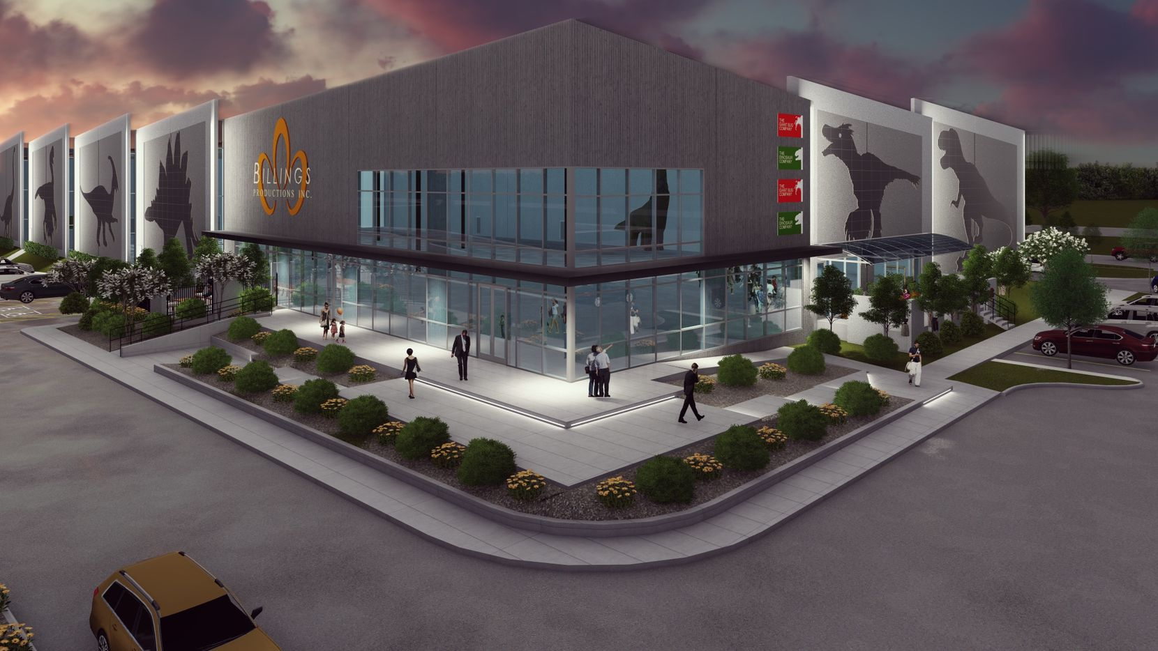 A rendering of the office and manufacturing building into which dinosaur builder Billings Productions plans to move in August.
