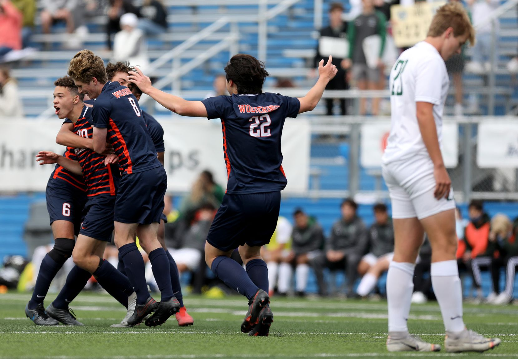 Frisco Wakeland's Micah Kelley (20) celebrates with teammates after scoring a goal against Humble Kingwood Park during their UIL 5A boys State championship soccer game at Birkelbach Field on April 17, 2021 in Georgetown, Texas.