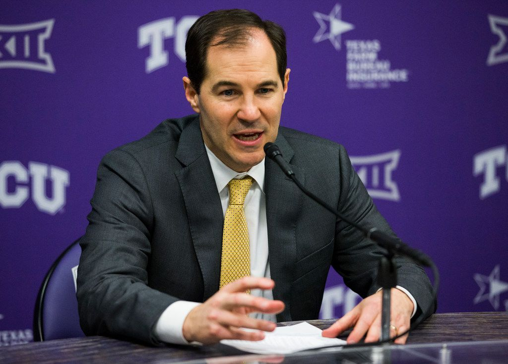 Baylor Bears head coach Scott Drew speaks to reporters after an NCAA mens basketball game between Baylor and TCU on Saturday, February 29, 2020 at Ed & Rae Schollmaier Arena on the TCU campus in Fort Worth. Baylor lost 75-72. (Ashley Landis/The Dallas Morning News)