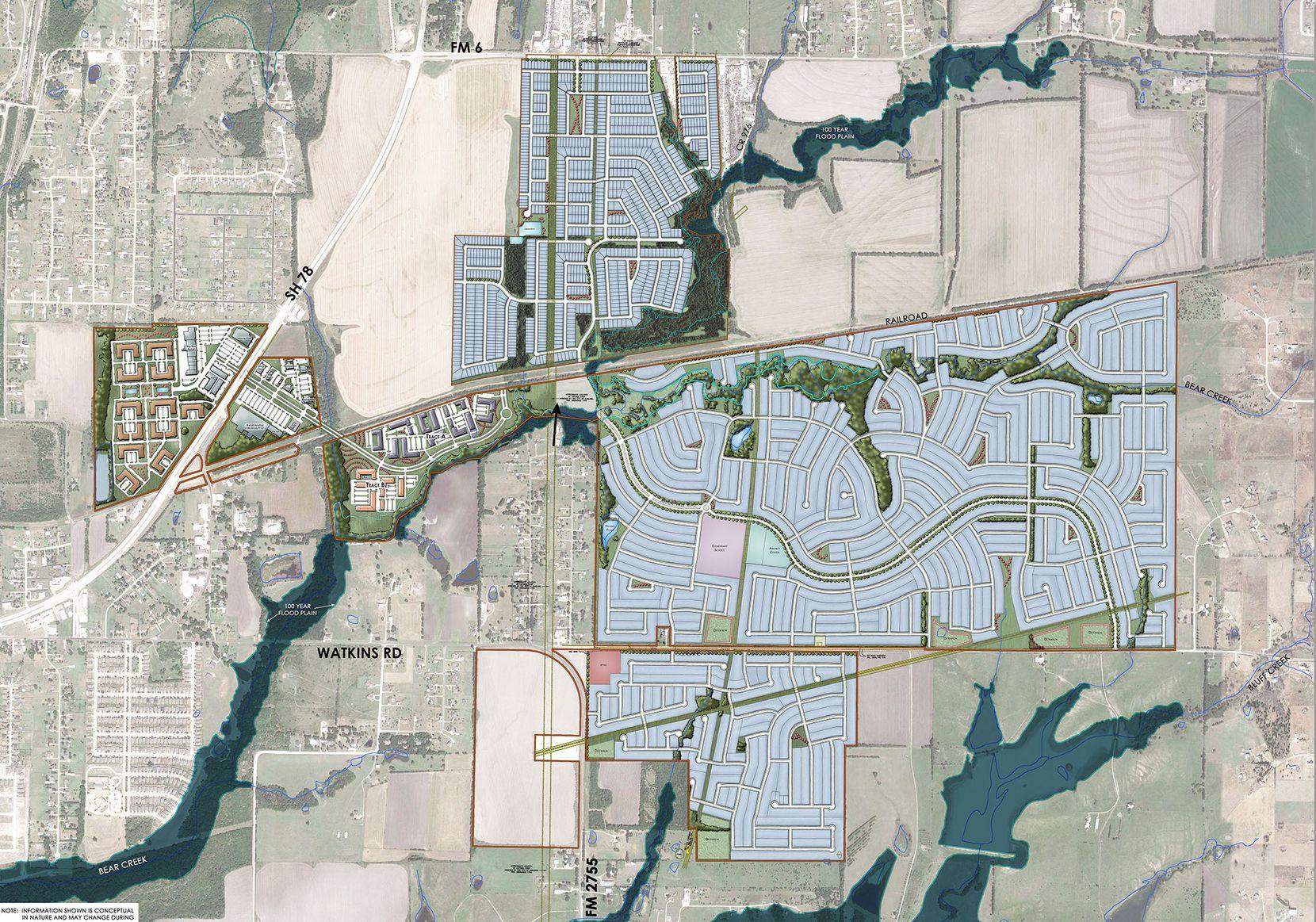 A conceptional plan for the $2 billion Elevon community in Lavon.