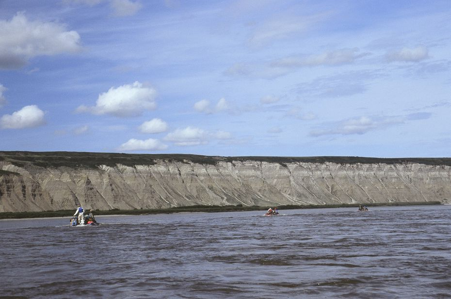 Dr. Anthony Fiorillo's team of scientists went to work by taking inflatable boats along Alaska's Colville River in 2006.