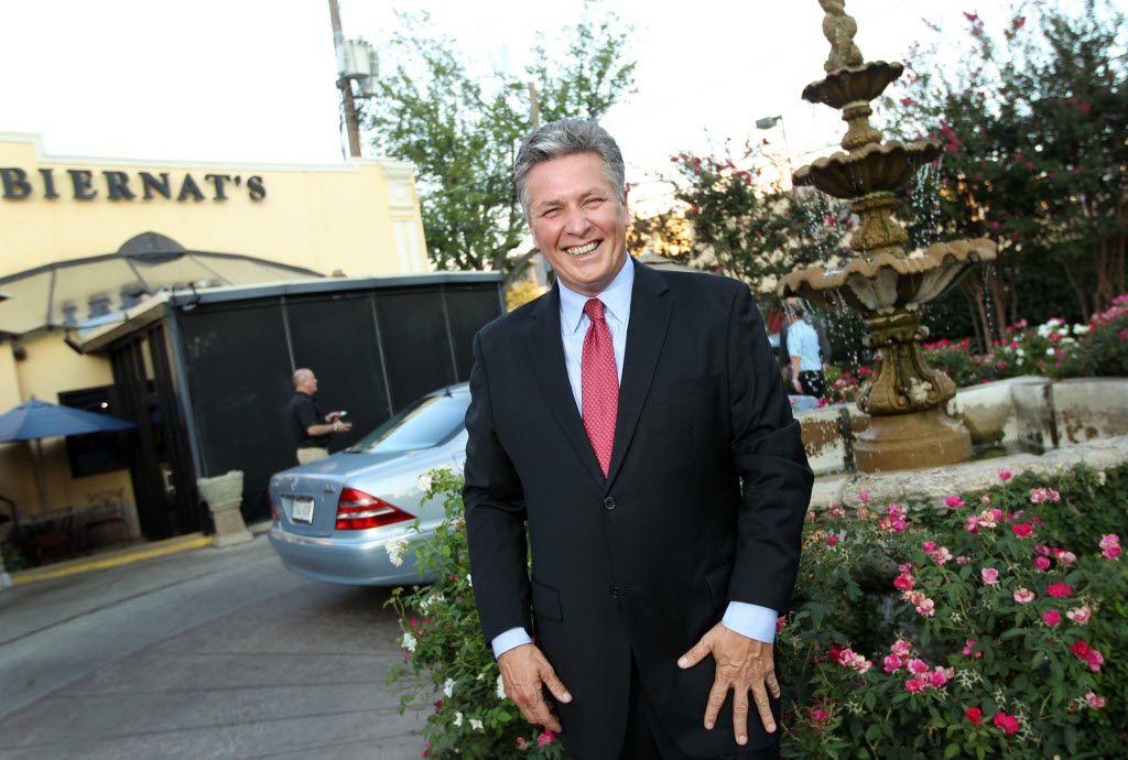 Al Biernat outside his eponymous restaurant on Oak Lawn Avenue in Dallas.