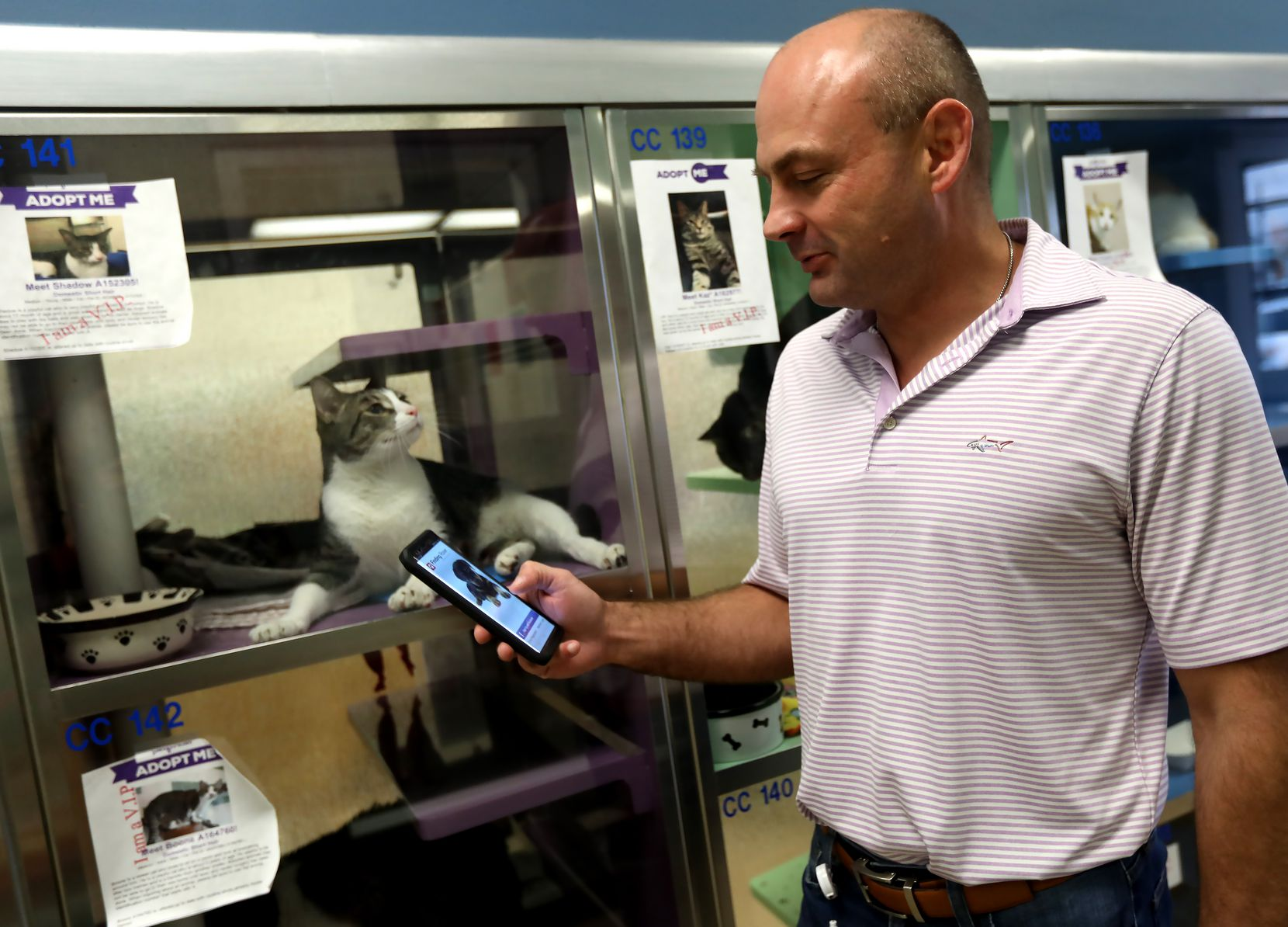 The app, demonstrated by Plano Animal Services director Jamey Cantrell, added cats to its service in 2017.