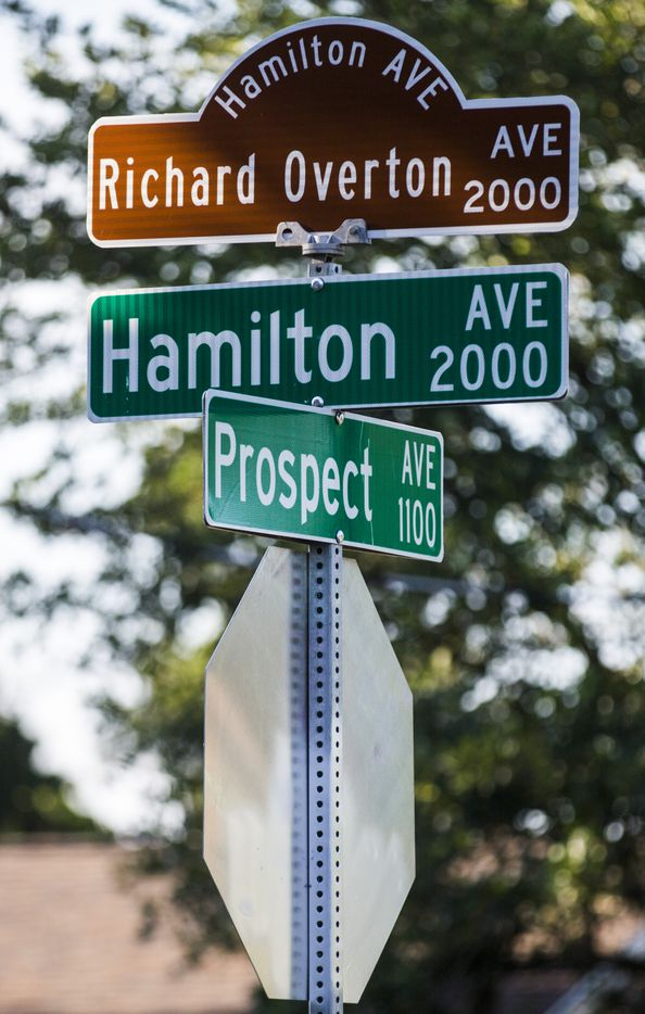 Hamilton Avenue was renamed Richard Overton Avenue. This is the street sign at the corner of his street and Prospect Avenue in Austin.