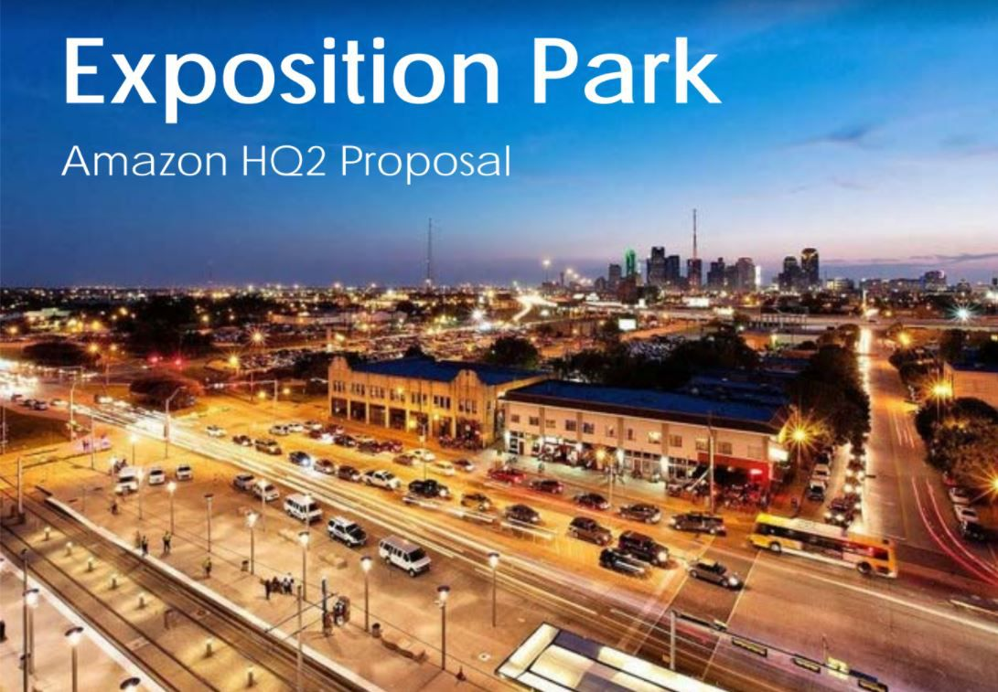 This is the cover of a proposal from Madison Partners to the city of Dallas pitching the area just outside Fair Park to Amazon.