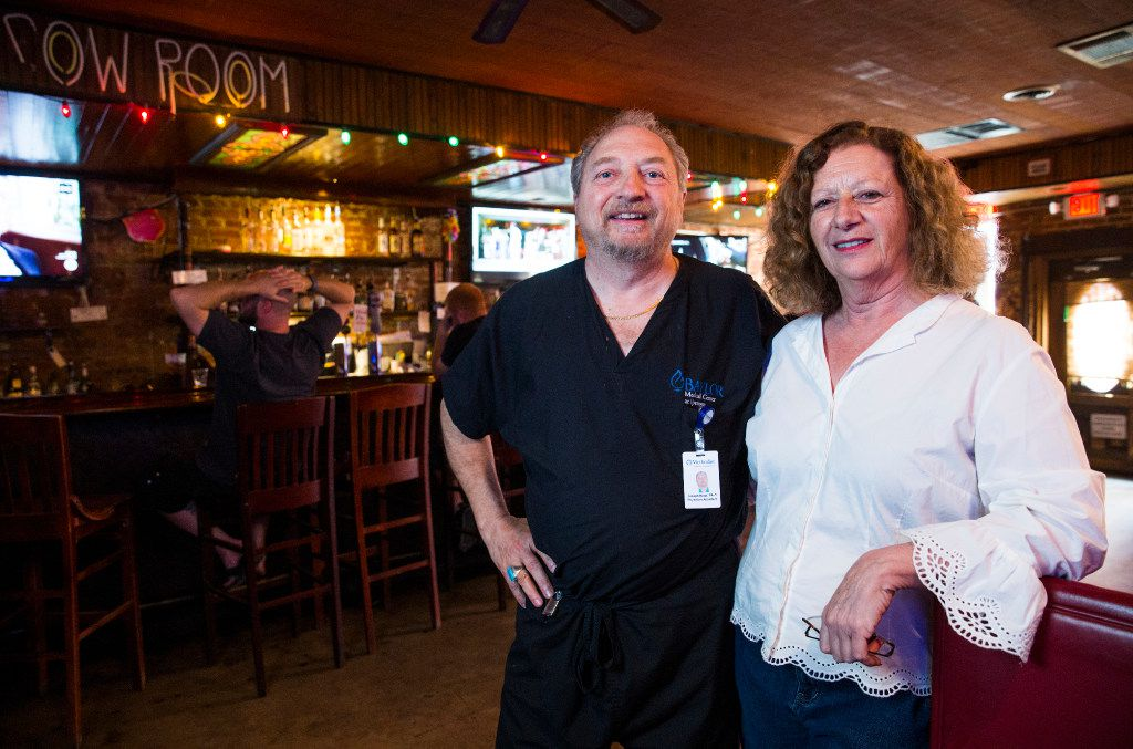Owners Joe and Rosie Nagy at The Elbow Room, which they are being forced to close later this month. (Ashley Landis/The Dallas Morning News)