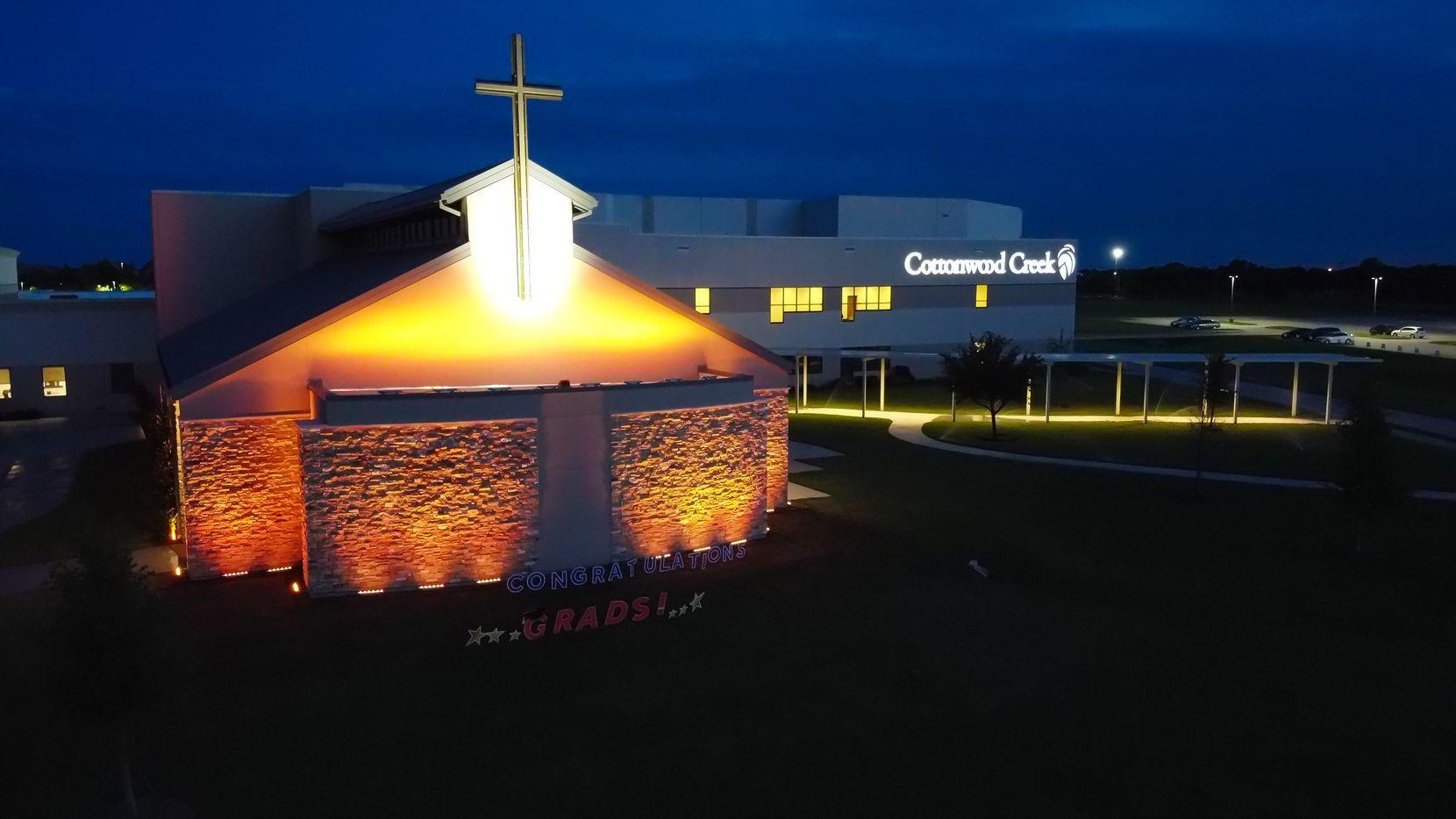 Cottonwood Creek Church was lit up gold May 27, 2020, to honor graduating seniors.