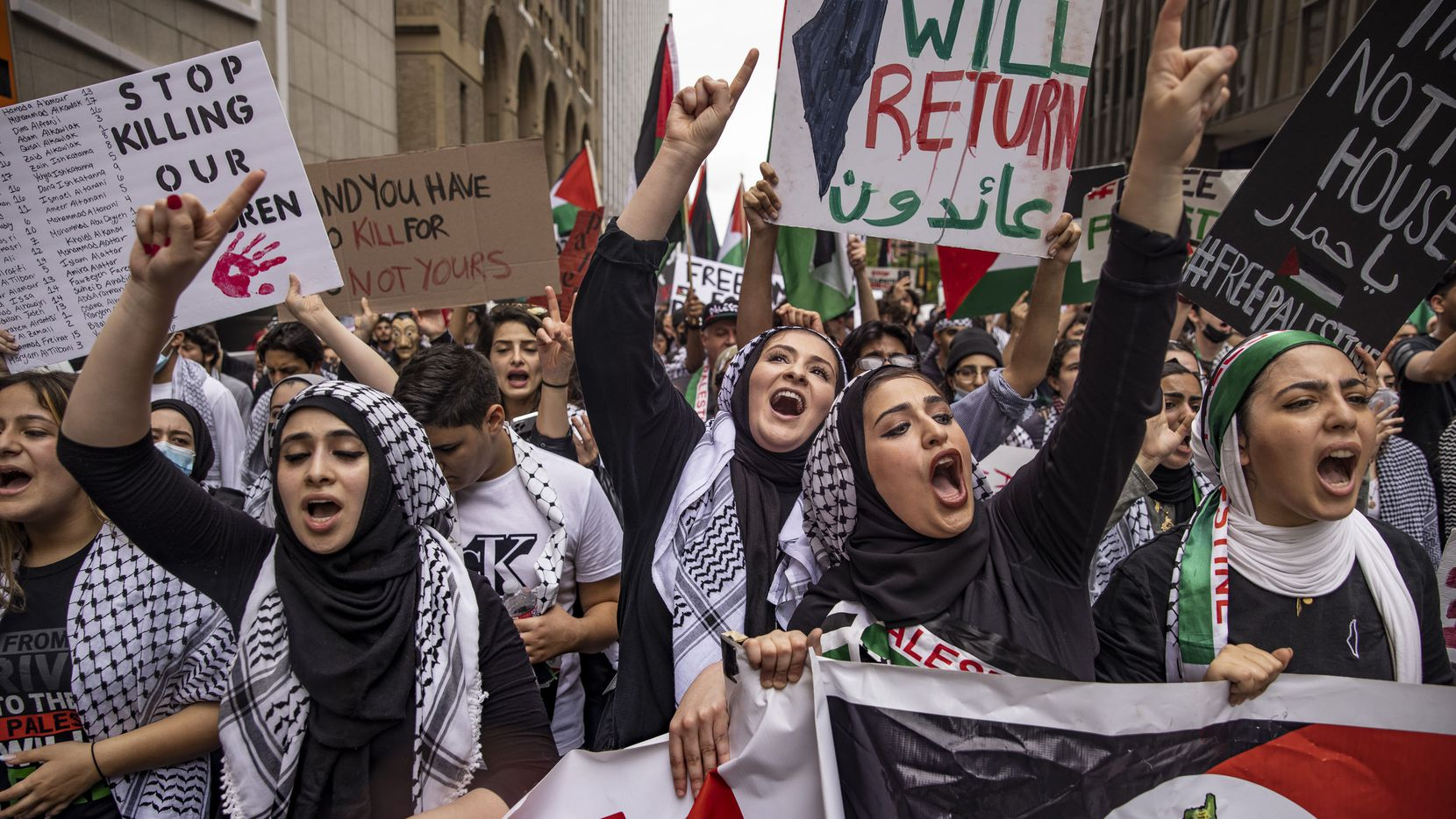 Demonstrators in Sunday's pro-Palestine event rallied at Dallas' Belo Garden before marching through several downtown streets and returning to the park.