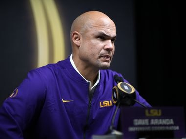 NEW ORLEANS, LOUISIANA - JANUARY 11: Dave Aranda of the LSU Tigers attends media day for the College Football Playoff National Championship on January 11, 2020 in New Orleans, Louisiana.